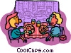 Vector Clip Art graphic  of a people in restaurant having