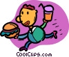 Vector Clipart graphic  of a Waiter bringing food