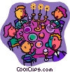 Vector Clipart illustration  of a family having supper
