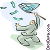 Vector Clip Art image  of a man with butterfly net chasing