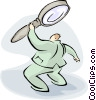 Vector Clipart picture  of a man with large magnifying