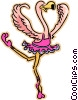 Vector Clipart graphic  of a ballet dancing flamingo