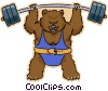 Vector Clip Art image  of a weight lifting bear