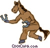 Vector Clip Art image  of a horse with horseshoes