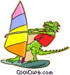 windsurfing alligator Vector Clipart illustration