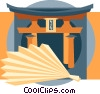 Vector Clip Art graphic  of a Japanese temple gate with fan