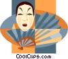 Vector Clipart graphic  of a Japanese theatre mask with fan