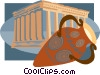 Vase with Ancient Temple Vector Clipart graphic