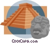Inca Pyramid with Statue Head Vector Clipart graphic