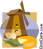 Vector Clipart image  of a Dutch windmill with tulip and