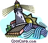 Vector Clip Art graphic  of a lighthouse beacon