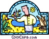 Vector Clip Art picture  of a waiter with cocktails served