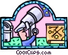 Vector Clip Art graphic  of an astronomer with a telescope