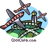 Vector Clip Art graphic  of an airplanes with control tower