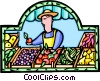 Vector Clipart graphic  of a fruit stand with fruit vendor