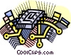 computer chips connecting the world Vector Clipart picture