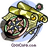 Mariner's charts and compass Vector Clipart illustration