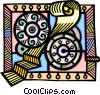 Vector Clip Art graphic  of a gears of automation