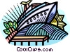 Vector Clip Art image  of a Cruise ship at dock
