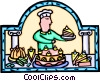 pastry chef with cakes and pastries Vector Clip Art picture
