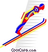 Vector Clipart picture  of a ski jumping