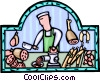 butcher in his butcher shop Vector Clipart image