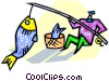 fisherman catching a fish Vector Clipart illustration