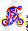 Vector Clipart graphic  of a Cyclist in a race