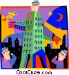 Vector Clip Art picture  of a business man towers over the
