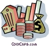 Vector Clipart picture  of a bank symbol with money