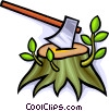 axe with a tree stump Vector Clipart graphic