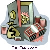 Vector Clip Art graphic  of a money in a vault