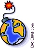 Vector Clip Art picture  of a Earth as a bomb about to explode