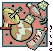 Vector Clipart illustration  of a global telecommunications