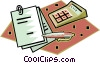 calculator with financial records Vector Clipart picture
