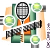 Vector Clip Art graphic  of a Tennis balls and rackets