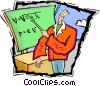 Vector Clip Art graphic  of a teacher at a blackboard
