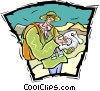 Vector Clipart image  of a hiker with a map
