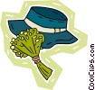 Vector Clip Art graphic  of a lady's spring hat with bouquet