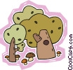 Vector Clip Art image  of a trees with mushrooms