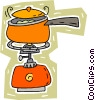 Vector Clip Art image  of a outdoor cook stove with pot