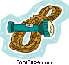 climber's rope with flashlight Vector Clipart illustration