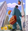 Businessman crossing a street Vector Clipart illustration