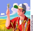 Farmer inspecting his crop Vector Clip Art graphic