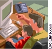 Vector Clip Art graphic  of a Father and son working on computer