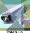 Vector Clipart graphic  of a video surveillance camera
