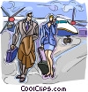 business travelers walking away from a plane Vector Clip Art image