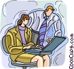 man and woman working with a laptop computer Vector Clip Art picture