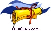 Vector Clip Art image  of a diploma or certificate with