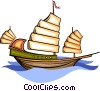 Vector Clip Art picture  of a oriental sailing ship
